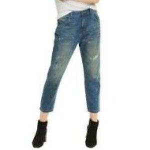 Wildfox Baggy Crop Da Vinci Jeans Paint Splattered